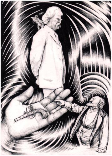 Иллюстрация из книги Виктора Кузьмина «Необычайные истории, рассказанные Фрэнком Ричардом Стоктоном и Марком Твеном», рисунок Алексея Григорова